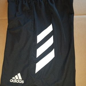 Men's Adidas athletic shorts, black/white, Medium